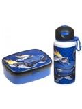 Znünibox und Trinkflasche Blau/Auto